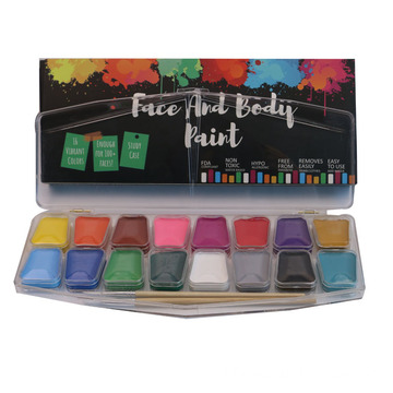 Goedkope Halloween Professional 16 kleuren Face Paint Kit